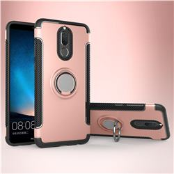 Armor Anti Drop Carbon PC + Silicon Invisible Ring Holder Phone Case for Huawei Mate 10 Lite / Nova 2i / Horor 9i / G10 - Rose Gold
