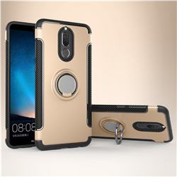 Armor Anti Drop Carbon PC + Silicon Invisible Ring Holder Phone Case for Huawei Mate 10 Lite / Nova 2i / Horor 9i / G10 - Champagne