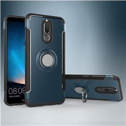 Armor Anti Drop Carbon PC + Silicon Invisible Ring Holder Phone Case for Huawei Mate 10 Lite / Nova 2i / Horor 9i / G10 - Navy