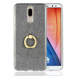 Luxury Soft TPU Glitter Back Ring Cover with 360 Rotate Finger Holder Buckle for Huawei Mate 10 Lite / Nova 2i / Horor 9i / G10 - Black