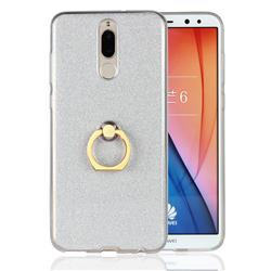 Luxury Soft TPU Glitter Back Ring Cover with 360 Rotate Finger Holder Buckle for Huawei Mate 10 Lite / Nova 2i / Horor 9i / G10 - White