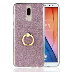 Luxury Soft TPU Glitter Back Ring Cover with 360 Rotate Finger Holder Buckle for Huawei Mate 10 Lite / Nova 2i / Horor 9i / G10 - Pink