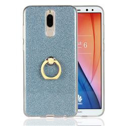 Luxury Soft TPU Glitter Back Ring Cover with 360 Rotate Finger Holder Buckle for Huawei Mate 10 Lite / Nova 2i / Horor 9i / G10 - Blue