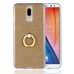 Luxury Soft TPU Glitter Back Ring Cover with 360 Rotate Finger Holder Buckle for Huawei Mate 10 Lite / Nova 2i / Horor 9i / G10 - Golden