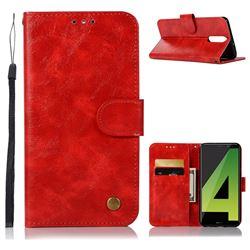 Luxury Retro Leather Wallet Case for Huawei Mate 10 Lite / Nova 2i / Horor 9i / G10 - Red