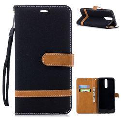 Jeans Cowboy Denim Leather Wallet Case for Huawei Mate 10 Lite / Nova 2i / Horor 9i / G10 - Black