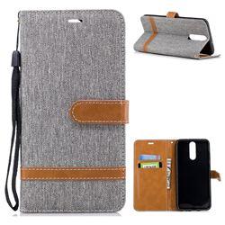 Jeans Cowboy Denim Leather Wallet Case for Huawei Mate 10 Lite / Nova 2i / Horor 9i / G10 - Gray