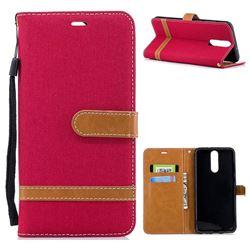 Jeans Cowboy Denim Leather Wallet Case for Huawei Mate 10 Lite / Nova 2i / Horor 9i / G10 - Red