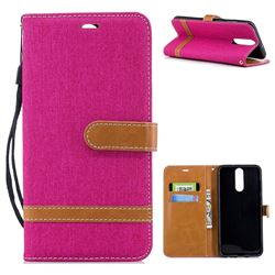 Jeans Cowboy Denim Leather Wallet Case for Huawei Mate 10 Lite / Nova 2i / Horor 9i / G10 - Rose