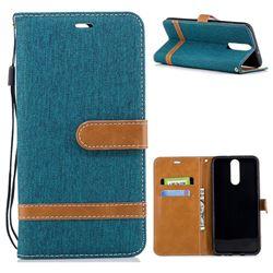 Jeans Cowboy Denim Leather Wallet Case for Huawei Mate 10 Lite / Nova 2i / Horor 9i / G10 - Green