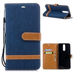 Jeans Cowboy Denim Leather Wallet Case for Huawei Mate 10 Lite / Nova 2i / Horor 9i / G10 - Dark Blue