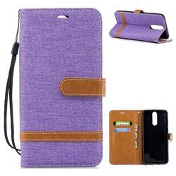 Jeans Cowboy Denim Leather Wallet Case for Huawei Mate 10 Lite / Nova 2i / Horor 9i / G10 - Purple