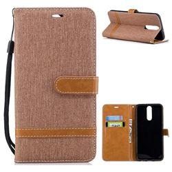 Jeans Cowboy Denim Leather Wallet Case for Huawei Mate 10 Lite / Nova 2i / Horor 9i / G10 - Brown