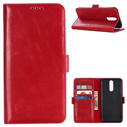 Luxury Crazy Horse PU Leather Wallet Case for Huawei Mate 10 Lite / Nova 2i / Horor 9i / G10 - Red