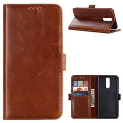 Luxury Crazy Horse PU Leather Wallet Case for Huawei Mate 10 Lite / Nova 2i / Horor 9i / G10 - Brown