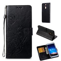 Embossing Butterfly Flower Leather Wallet Case for Huawei Mate 10 Lite / Nova 2i / Horor 9i / G10 - Black