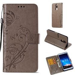 Embossing Butterfly Flower Leather Wallet Case for Huawei Mate 10 Lite / Nova 2i / Horor 9i / G10 - Grey