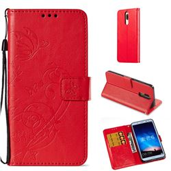 Embossing Butterfly Flower Leather Wallet Case for Huawei Mate 10 Lite / Nova 2i / Horor 9i / G10 - Red