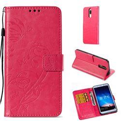 Embossing Butterfly Flower Leather Wallet Case for Huawei Mate 10 Lite / Nova 2i / Horor 9i / G10 - Rose