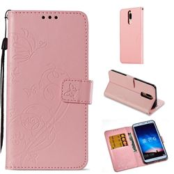 Embossing Butterfly Flower Leather Wallet Case for Huawei Mate 10 Lite / Nova 2i / Horor 9i / G10 - Pink