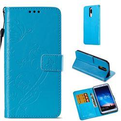 Embossing Butterfly Flower Leather Wallet Case for Huawei Mate 10 Lite / Nova 2i / Horor 9i / G10 - Blue