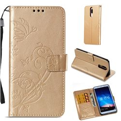 Embossing Butterfly Flower Leather Wallet Case for Huawei Mate 10 Lite / Nova 2i / Horor 9i / G10 - Champagne