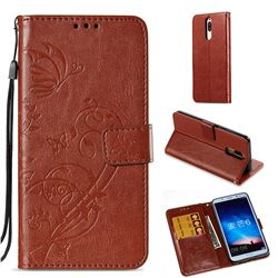 Embossing Butterfly Flower Leather Wallet Case for Huawei Mate 10 Lite / Nova 2i / Horor 9i / G10 - Brown