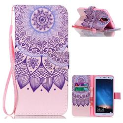 Purple Sunflower Leather Wallet Phone Case for Huawei Mate 10 Lite / Nova 2i / Horor 9i / G10