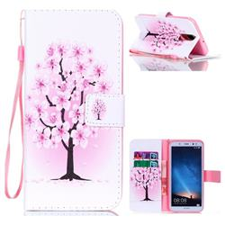 Peach Flower Leather Wallet Phone Case for Huawei Mate 10 Lite / Nova 2i / Horor 9i / G10