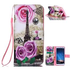 Rose Eiffel Tower Leather Wallet Phone Case for Huawei Mate 10 Lite / Nova 2i / Horor 9i / G10