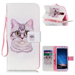 Lovely Cat Leather Wallet Phone Case for Huawei Mate 10 Lite / Nova 2i / Horor 9i / G10