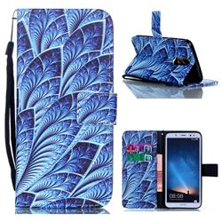 Blue Feather Leather Wallet Phone Case for Huawei Mate 10 Lite / Nova 2i / Horor 9i / G10