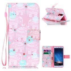 Pink Elephant Leather Wallet Phone Case for Huawei Mate 10 Lite / Nova 2i / Horor 9i / G10