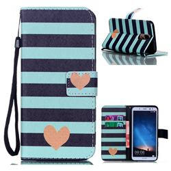 Blue Stripe Heart Leather Wallet Phone Case for Huawei Mate 10 Lite / Nova 2i / Horor 9i / G10