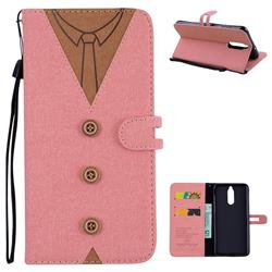 Mens Button Clothing Style Leather Wallet Phone Case for Huawei Mate 10 Lite / Nova 2i / Horor 9i / G10 - Pink