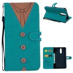 Mens Button Clothing Style Leather Wallet Phone Case for Huawei Mate 10 Lite / Nova 2i / Horor 9i / G10 - Green