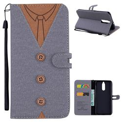 Mens Button Clothing Style Leather Wallet Phone Case for Huawei Mate 10 Lite / Nova 2i / Horor 9i / G10 - Gray