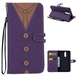 Mens Button Clothing Style Leather Wallet Phone Case for Huawei Mate 10 Lite / Nova 2i / Horor 9i / G10 - Purple