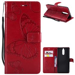 Embossing 3D Butterfly Leather Wallet Case for Huawei Mate 10 Lite / Nova 2i / Horor 9i / G10 - Red
