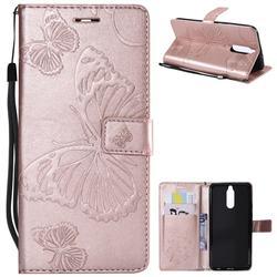 Embossing 3D Butterfly Leather Wallet Case for Huawei Mate 10 Lite / Nova 2i / Horor 9i / G10 - Rose Gold