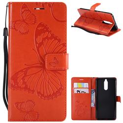 Embossing 3D Butterfly Leather Wallet Case for Huawei Mate 10 Lite / Nova 2i / Horor 9i / G10 - Orange