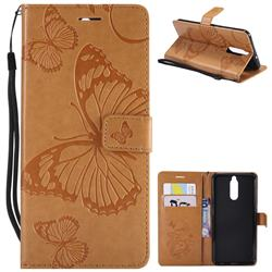 Embossing 3D Butterfly Leather Wallet Case for Huawei Mate 10 Lite / Nova 2i / Horor 9i / G10 - Yellow