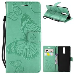 Embossing 3D Butterfly Leather Wallet Case for Huawei Mate 10 Lite / Nova 2i / Horor 9i / G10 - Green