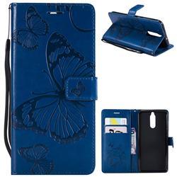 Embossing 3D Butterfly Leather Wallet Case for Huawei Mate 10 Lite / Nova 2i / Horor 9i / G10 - Blue
