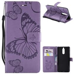 Embossing 3D Butterfly Leather Wallet Case for Huawei Mate 10 Lite / Nova 2i / Horor 9i / G10 - Purple