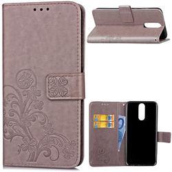 Embossing Imprint Four-Leaf Clover Leather Wallet Case for Huawei Mate 10 Lite / Nova 2i / Horor 9i / G10 - Grey