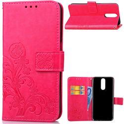 Embossing Imprint Four-Leaf Clover Leather Wallet Case for Huawei Mate 10 Lite / Nova 2i / Horor 9i / G10 - Rose