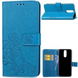Embossing Imprint Four-Leaf Clover Leather Wallet Case for Huawei Mate 10 Lite / Nova 2i / Horor 9i / G10 - Blue