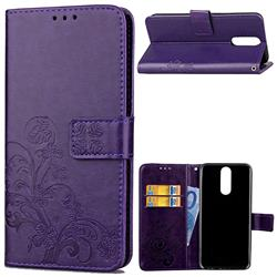 Embossing Imprint Four-Leaf Clover Leather Wallet Case for Huawei Mate 10 Lite / Nova 2i / Horor 9i / G10 - Purple