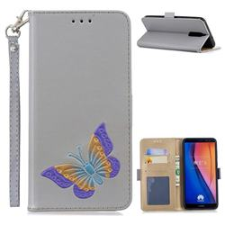 Imprint Embossing Butterfly Leather Wallet Case for Huawei Mate 10 Lite / Nova 2i / Horor 9i / G10 - Grey